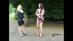 Stiletto Girls tease you in leggy high heels Thumb
