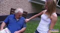 Grandpa fucks teen in the garden Thumb