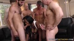 Sassy Jezabel Vessir sucking cock in gangbang Thumb