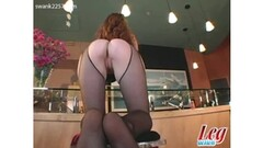 Chicks do some lesbian action with strap-on Thumb