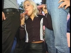 Blonde in red pantyhose double fucked Thumb