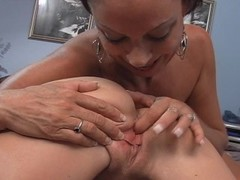 Cute young blonde with older lesbian Thumb