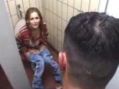 Busty slim German Teen in public bathroom Thumb