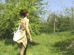 Mature pantyhose woman outside Thumb