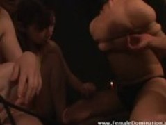 Three mistresses humiliate and beat a masked, gagged, tied slave Thumb
