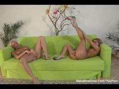Two Blonde slut vs One Hard cock Thumb