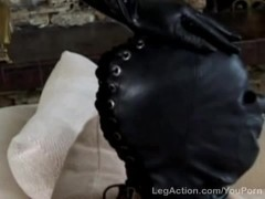 Blonde plugs ass hole with slaves cock Thumb