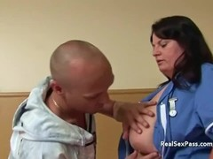 Fat nurse with massive tits takes it up the bumhole Thumb