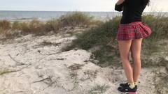 Cum in Panties sex on the beach with schoolgirl Thumb