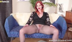 Horny big tits redhead wanks off inside seamless pantyhose Thumb
