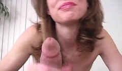 Hot Milf Sucked a Lucky Cock and Drained Cum in her Mouth Thumb