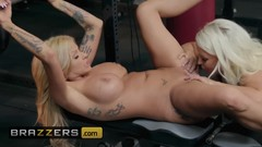 Brazzers - Busty Gym milfs Alura Jenson & Joslyn James get some post workout pussy licking Thumb