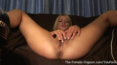 Horny Blonde Has Multiple Squirting Orgasms From First Time with Hitachi Thumb